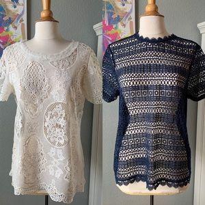Lot of 2 Lace Short Sleeve Tops H&M, Xhilaration